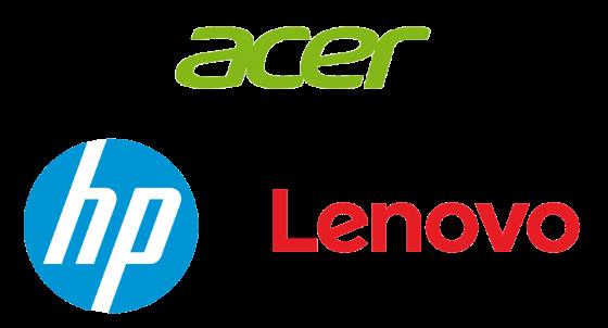 Acer, HP, Lenovo Logos